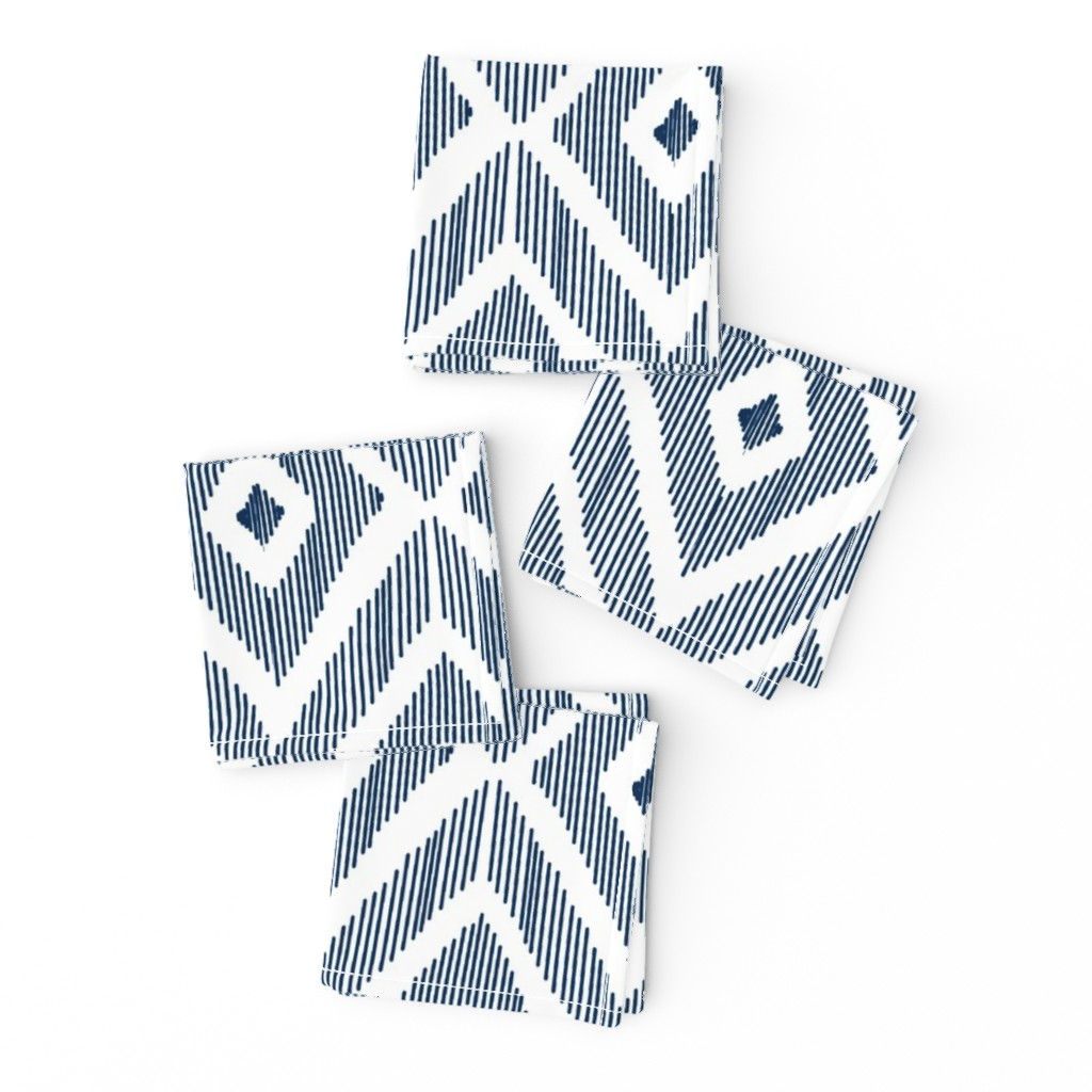 Frizzle Cocktail Napkins featuring Ikat Navy by fat_bird_designs