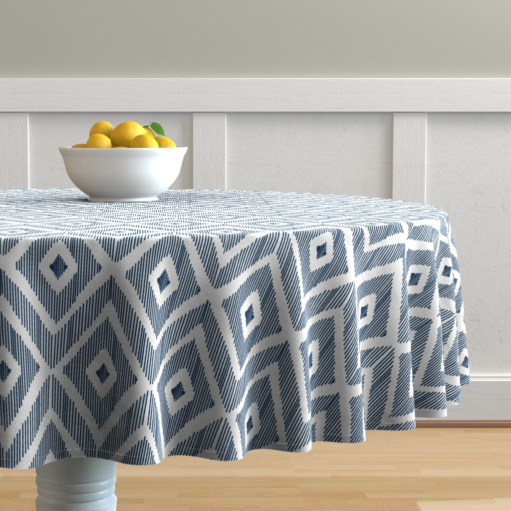 Malay Round Tablecloth featuring Ikat Navy by fat_bird_designs