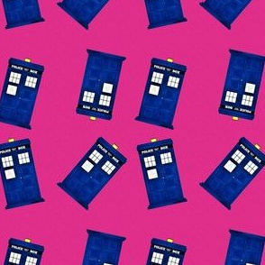 Tiny Police Boxes on Pink