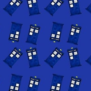 Tiny Police Boxes on Blue