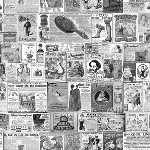 Victorian Newsprint Advertisements - Black and White