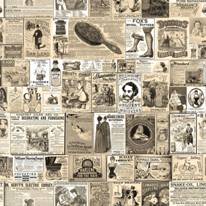 Victorian Newsprint Advertisements - Sepia Tones