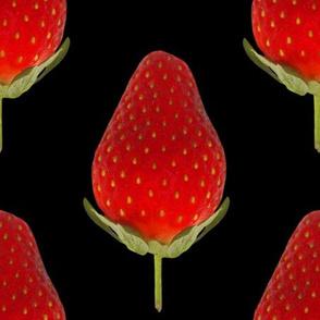 Strawberries on Black - Huge Strawberry photo repeating pattern
