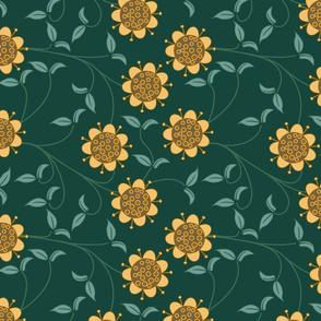 Dark green and yellow retro flower pattern
