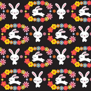 Bunnies & Flowers Black