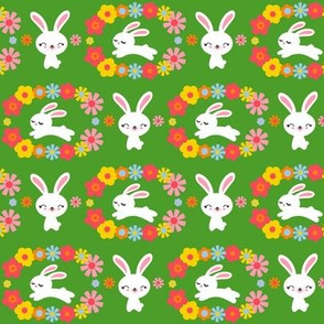 Bunnies & Flowers Green