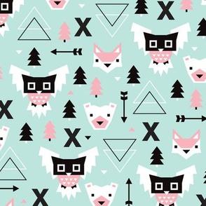 Geometric winter wonderland pastel blue owls christmas kids pattern