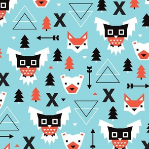 Winter vintage geometric owls and bears illustration kids pattern