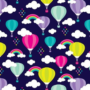 Cute colorful hot air balloon retro clouds and rainbow illustration pattern