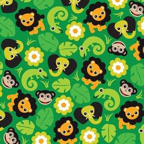Kids jungle animals lion elephant monkey and lizard pattern