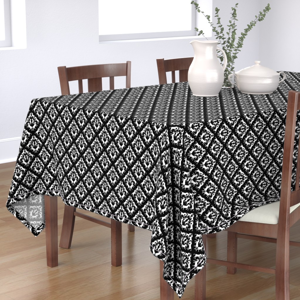 Bantam Rectangular Tablecloth featuring Unicorn Damask by eclectic_house