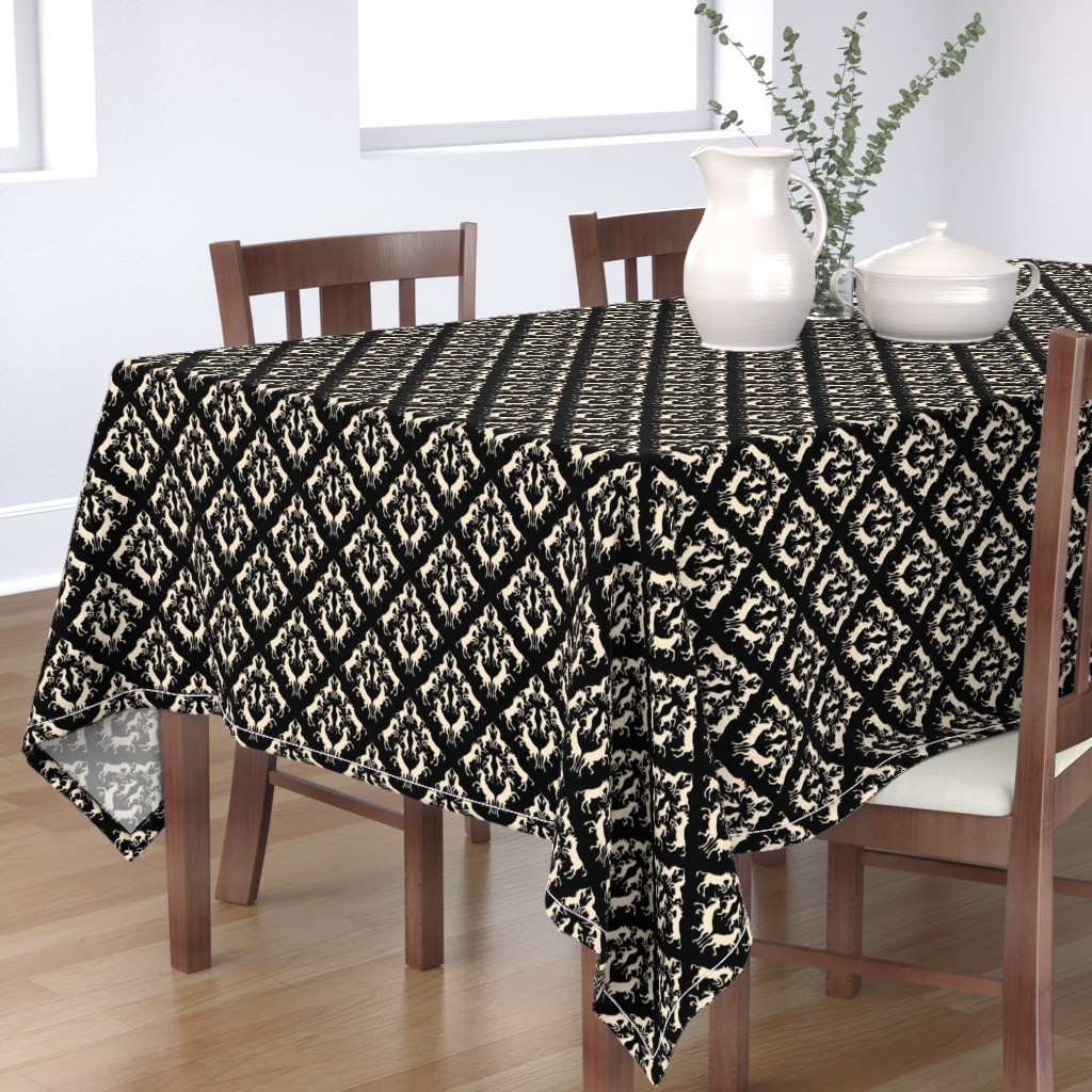 Bantam Rectangular Tablecloth featuring Unicorn Damask, Cream by eclectic_house