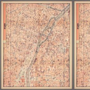 Paris map, city center, vintage, small