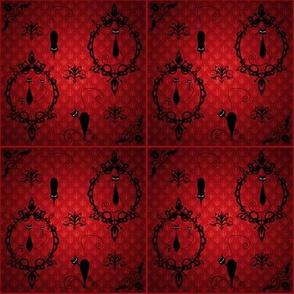 """Night Vision"" - Black Cats, Damask Inspired"