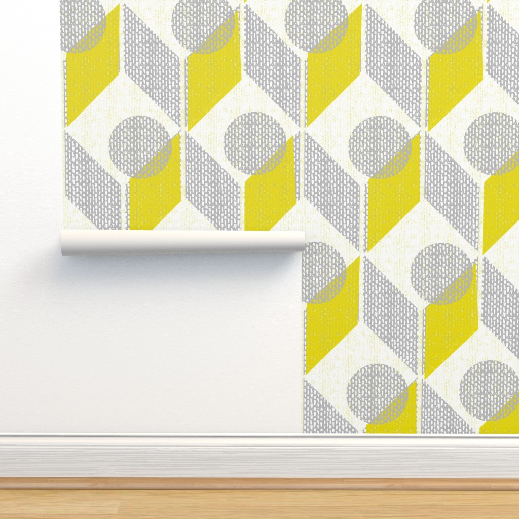 Isobar Durable Wallpaper featuring dots on tables-geometric-mid century mod by ottomanbrim