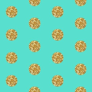 Gold Glitter on Teal