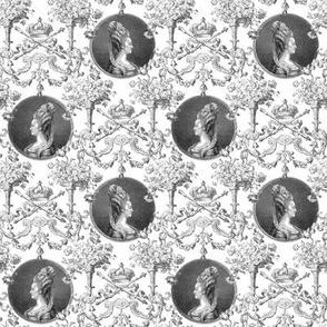 Marie Antoinette Medallion Swag ~ Black and White