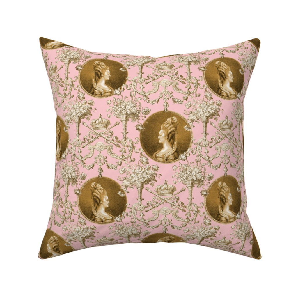 Catalan Throw Pillow featuring Marie Antoinette Medallion Swag ~ Gilt on Dauphine  by peacoquettedesigns
