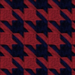 chalk houndstooth -- red, black and blue