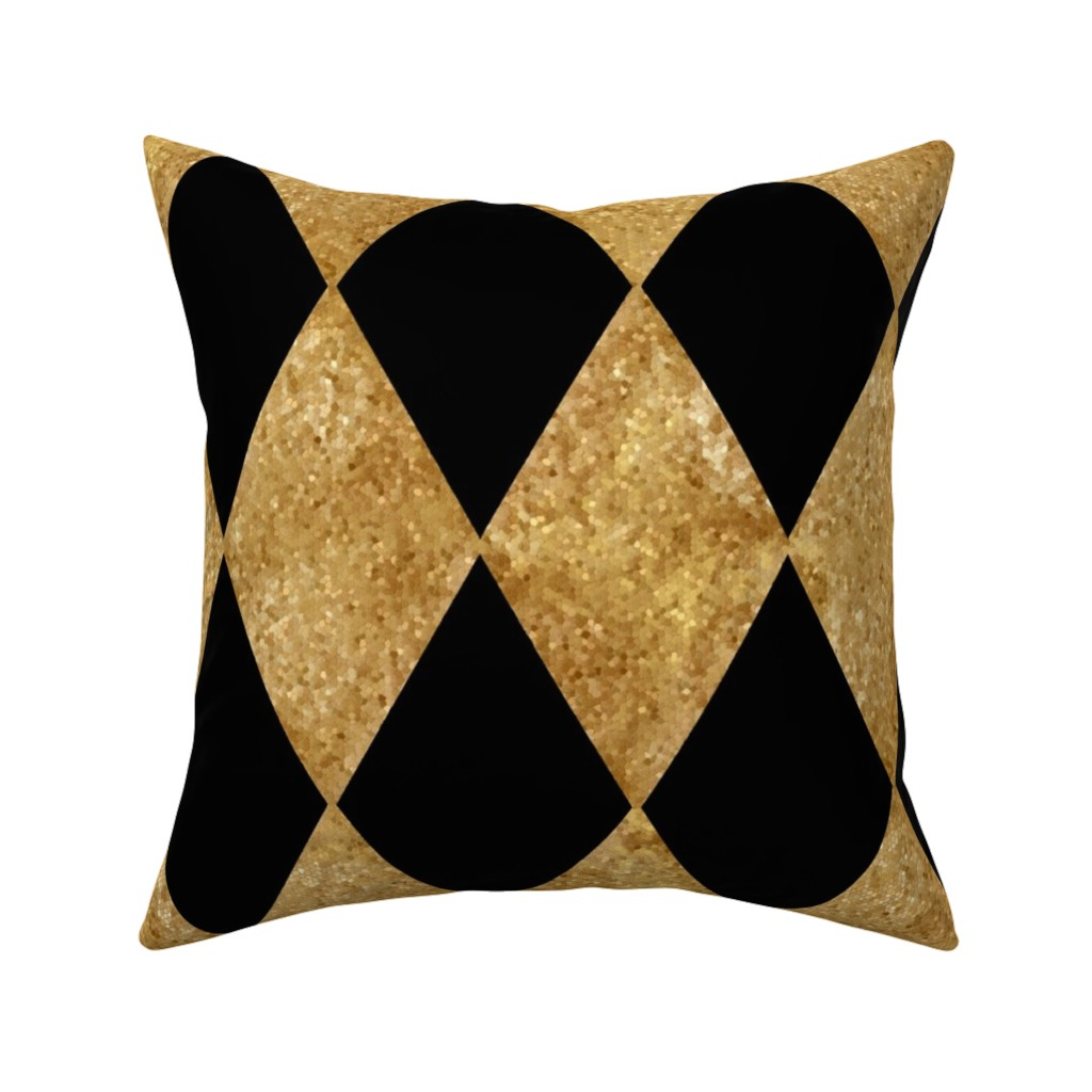 Catalan Throw Pillow featuring Harlequin Diamonds ~ Black and Antique Gold Mosaic   by peacoquettedesigns