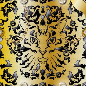 Bling Bling Cat Damask (Gold)