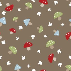 Woodland Mushrooms - Red on brown