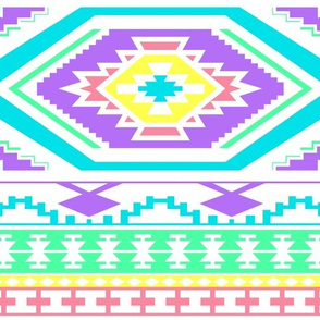 Aztec Geometric Pattern - Bright Pastel Colors, perfect repeats
