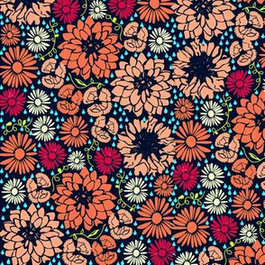 Ditsy flowers (orange dark background)