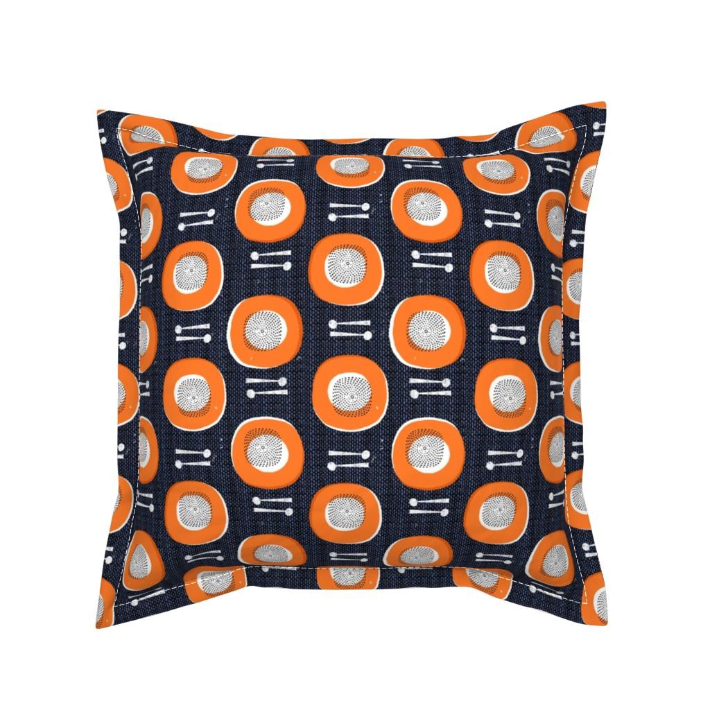 Serama Throw Pillow featuring drums-orange by ottomanbrim