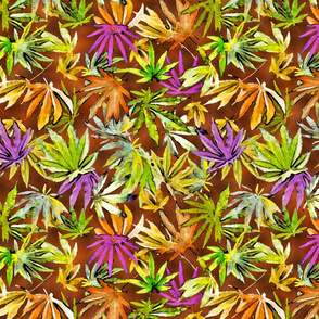 Watercolor Cannabis Leaves