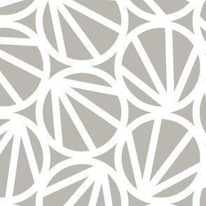 Mari - Geometric Circles - Grey, White Line - Large Scale