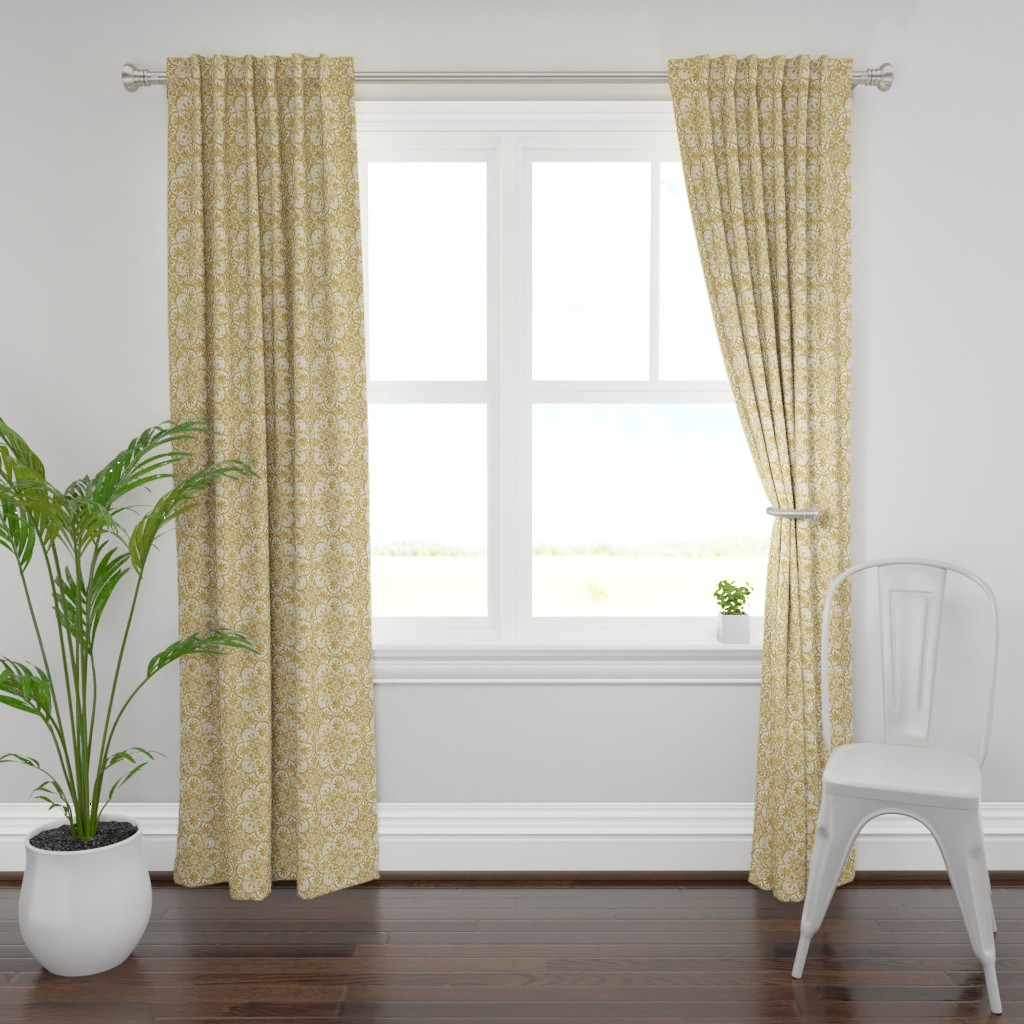 Plymouth Curtain Panel featuring Bourgogne Tile ~ Gilt Gold and White  by peacoquettedesigns