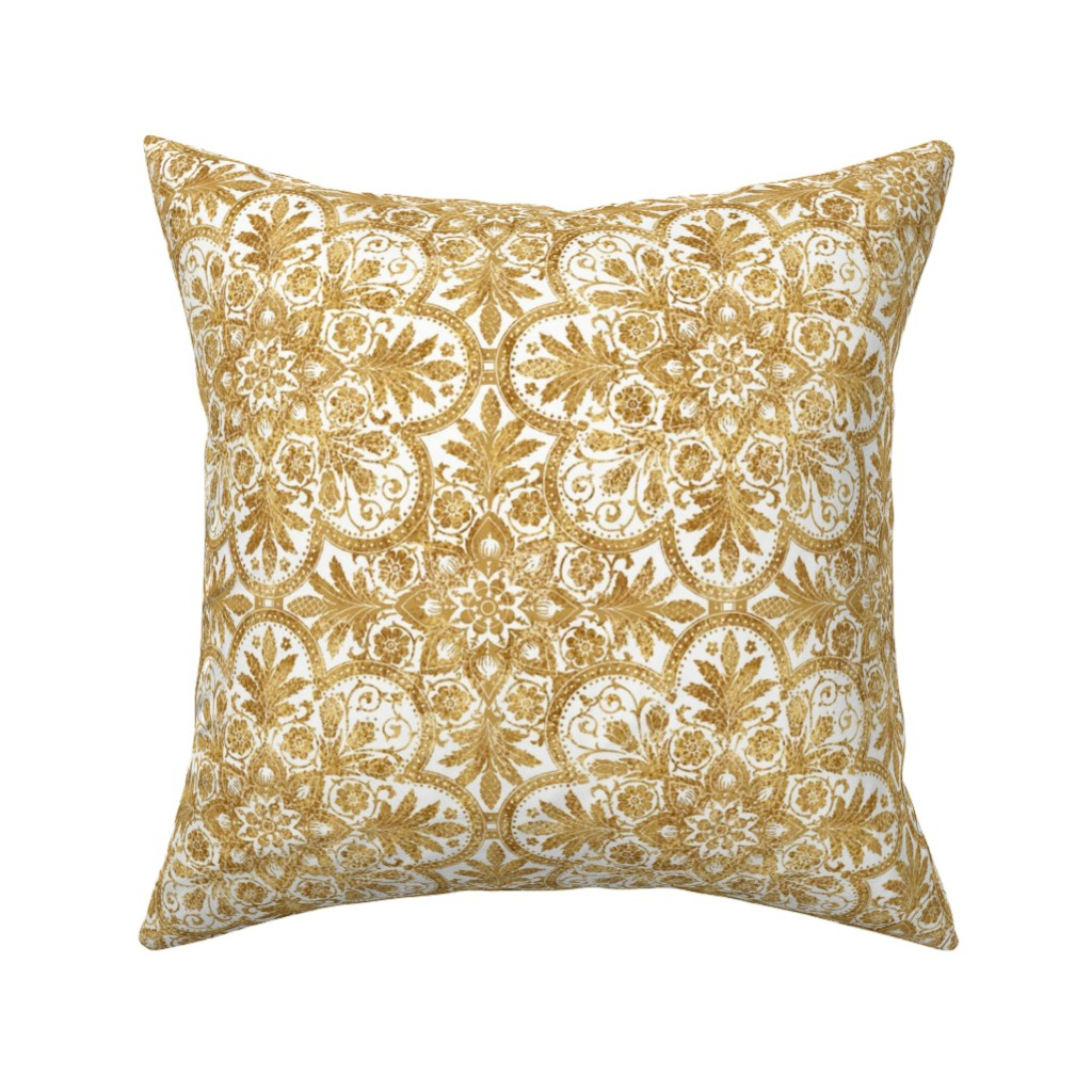 Catalan Throw Pillow featuring Bourgogne Tile ~ Gilt Gold and White  by peacoquettedesigns
