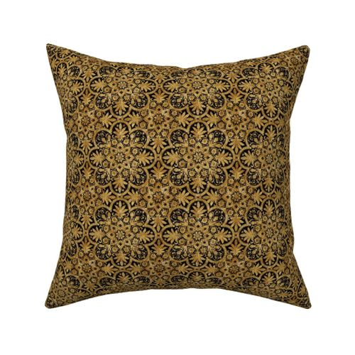 1d67e9fe4c4 Catalan Throw Pillow. Bourgogne Tile ~ Gilt Gold and Black