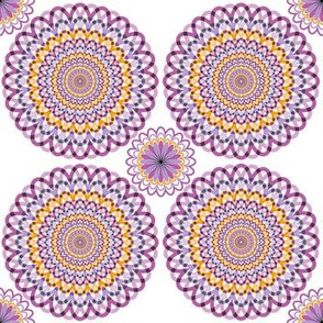 Purple and orange rosettes