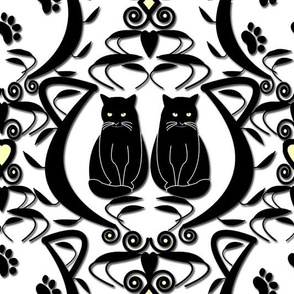 Midnight Cat Does Damask