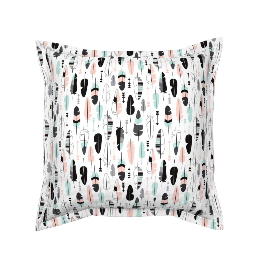 Serama Throw Pillow featuring Geometric vintage feathers pastel arrows in mint and coral illustration pattern by littlesmilemakers
