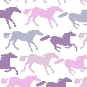 wild horsesin purples and pinks