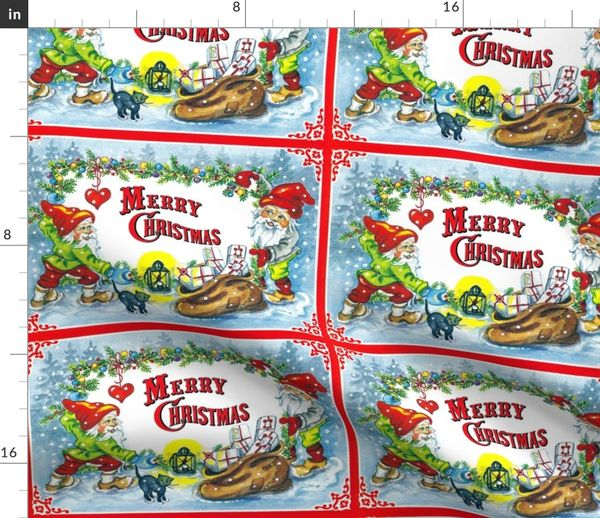 Vintage Merry Christmas.Fabric By The Yard Vintage Retro Kitsch Merry Christmas Winter Snow Gnomes Elves Elf Pixies Trolls Presents Gifts Mistletoe Hearts Black Cats Baubles