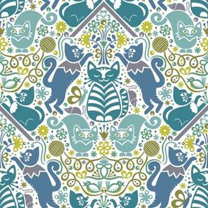 Flock of Frolicking Felines (blue)