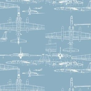 U-2 Schematic Line Drawing Blue