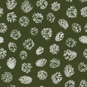pine cones white on pine green