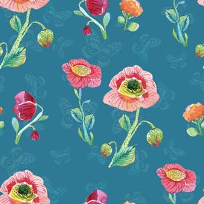 Wildflowers & Butterflies Blue
