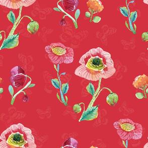 Wildflowers & Butterflies Red