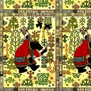 vintage retro cultural culture folk art traditional traditions northwest tribal bears Anthropomorphic whimsical country trees motifs abstract