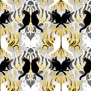 Golden Cat Grass Damask