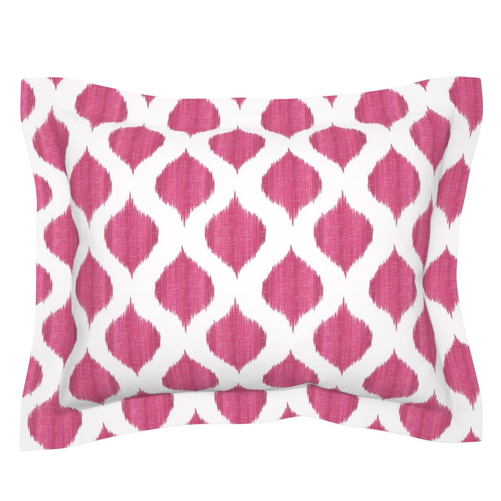 Sebright Pillow Sham featuring Lela Ikat in Fuchsia by willowlanetextiles