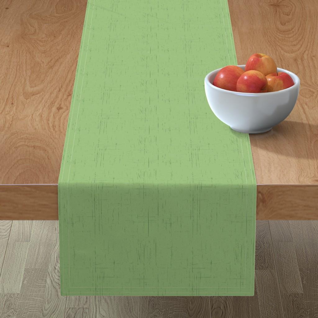 Minorca Table Runner featuring Pine Cones (green background) by studiofibonacci