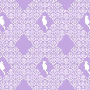 Kitty Back Lavender White Damask