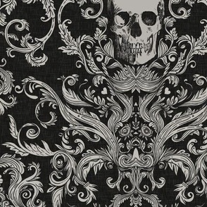 Dread Damask in Crisp Black Linen
